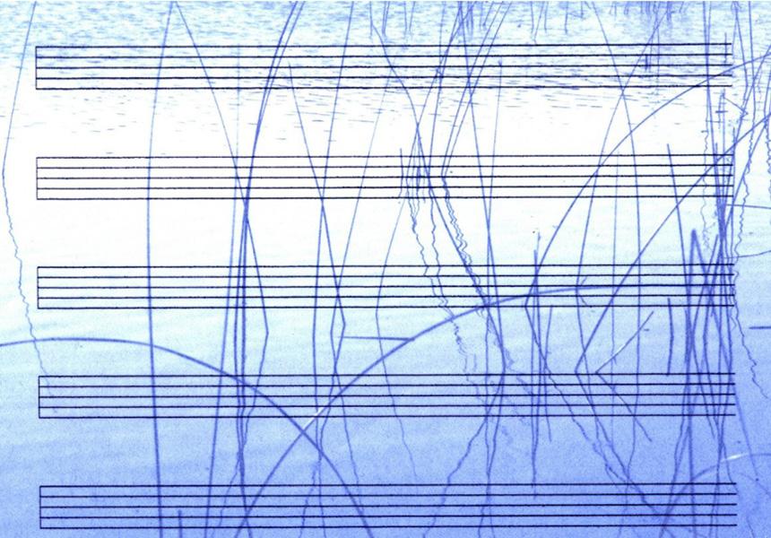 """Kompozitoriaus Stepheno Vitiello kūrinio """"First Vertical"""" partitūros fragmentas"""