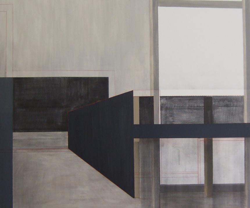 """Ainė Jacytė. Iš serijos """"Sukonstruoti pojūčiai"""", drobė, aliejus, anglis. 100 cm x 100 cm, 2013"""