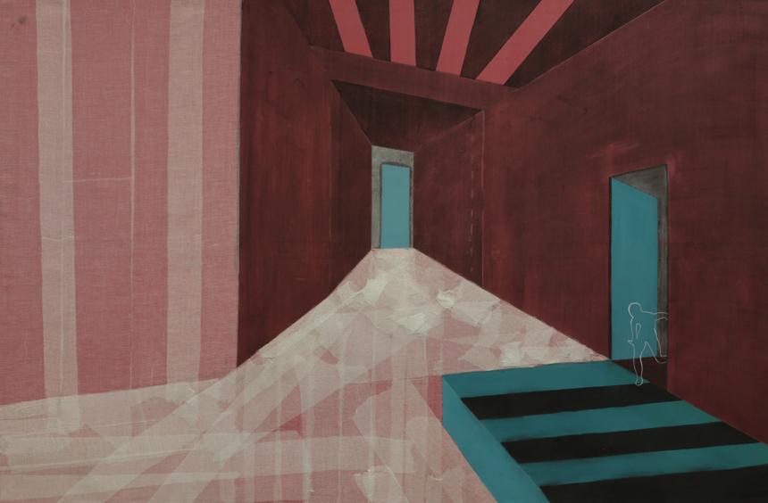 """Ainė Jacytė. Iš serijos """"Sukonstruoti pojūčiai"""", drobė, aliejus, anglis, medicininis bintas. 100 cm x 150 cm, 2013."""