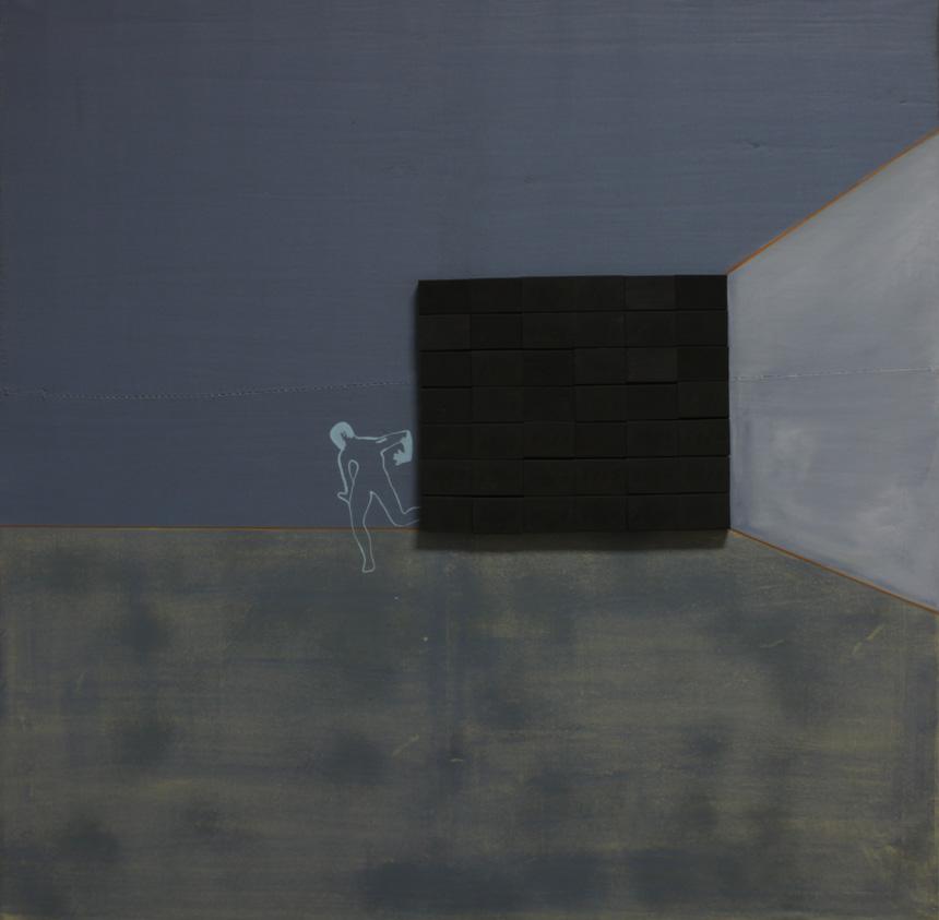 """Ainė Jacytė. Iš serijos """"Sukonstruoti pojūčiai"""", drobė, aliejus, kartonas. 100 cm x 100 cm, 2013"""