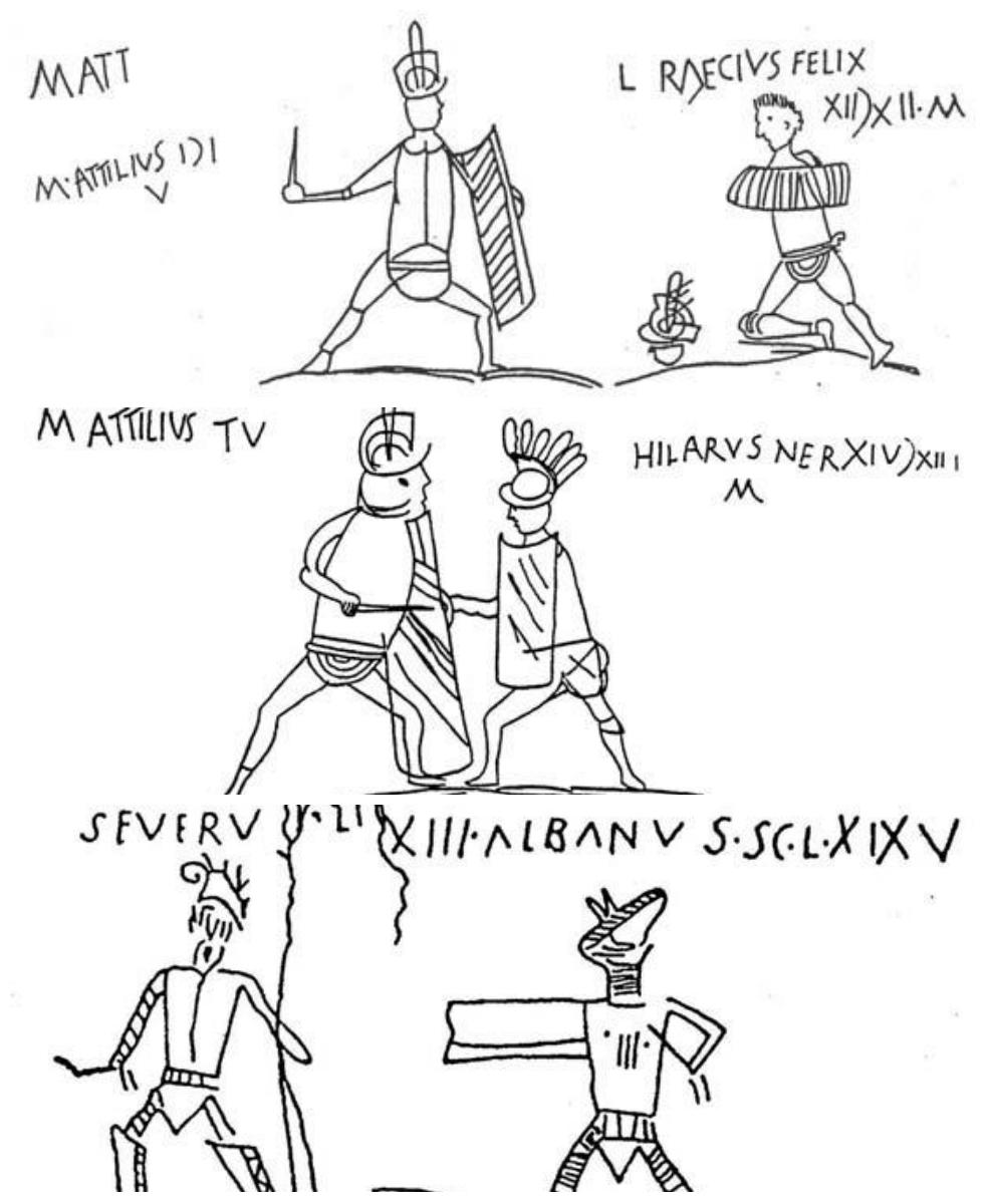Gladiatorių kovas vaizduojantys piešiniai