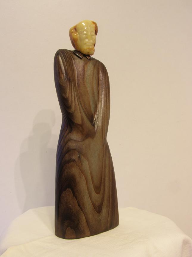 """Albertas Žulkus """"Kristijonas Donelaitis"""", 2013, gintaras, liepa, 34 cm."""