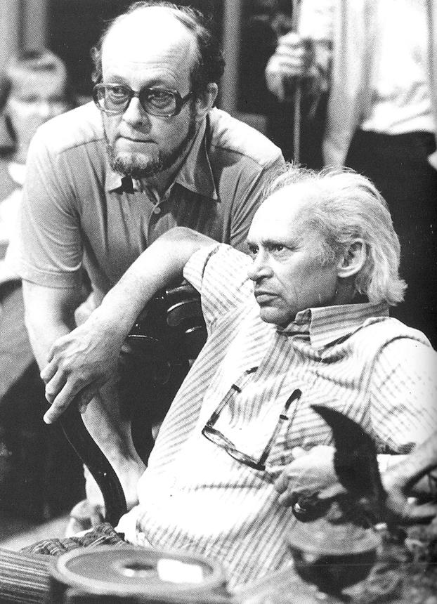"""Jonas Gricius (sėdi) 1976 m. su režisieriumi Arūnu Žebriūnu, filmuojant """"Seklio Kalio nuotykius"""". K. Jankausko nuotrauka"""