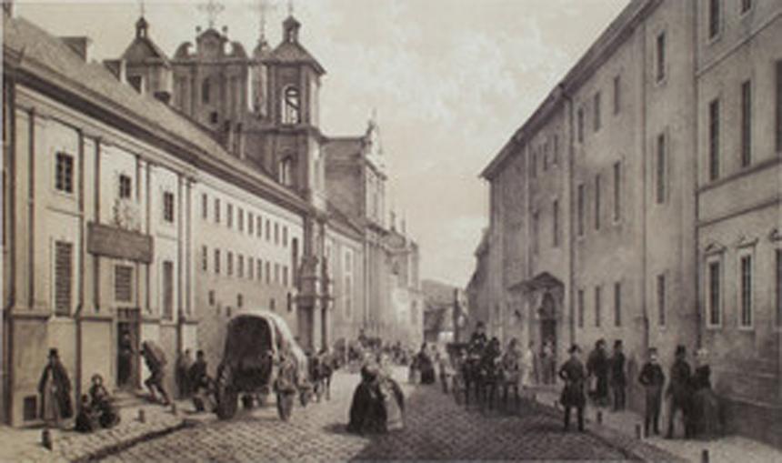 Jaan Arnot, Adolphe Jean Baptiste Bayot. Dominikonų gatvė ir Bajorų institutas Vilniuje.1850, popierius, tonuota litografija, LDM