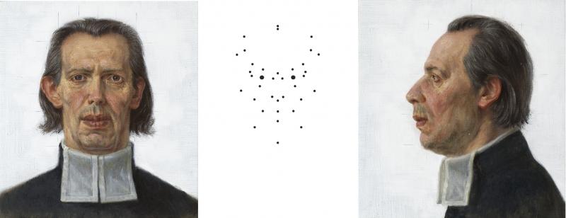 """Žygimantas Augustinas. """"Autoportretas pagal K. Donelaičio kaukolės matmenis ir kraniometrinis Donelaitis"""", 2014"""