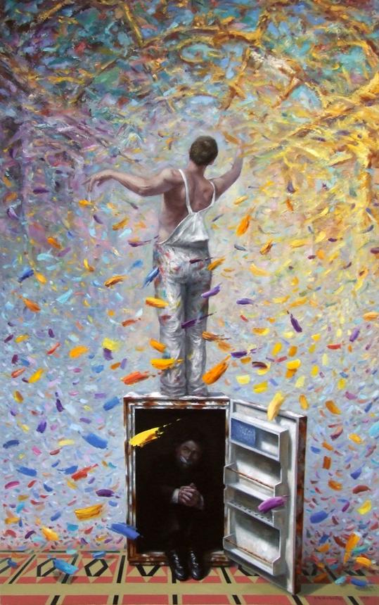 """Aurimas Eidukaitis. """"Simfoninis architektūros išskaidymas"""", 2013, drobė, aliejus, 100x160 cm"""