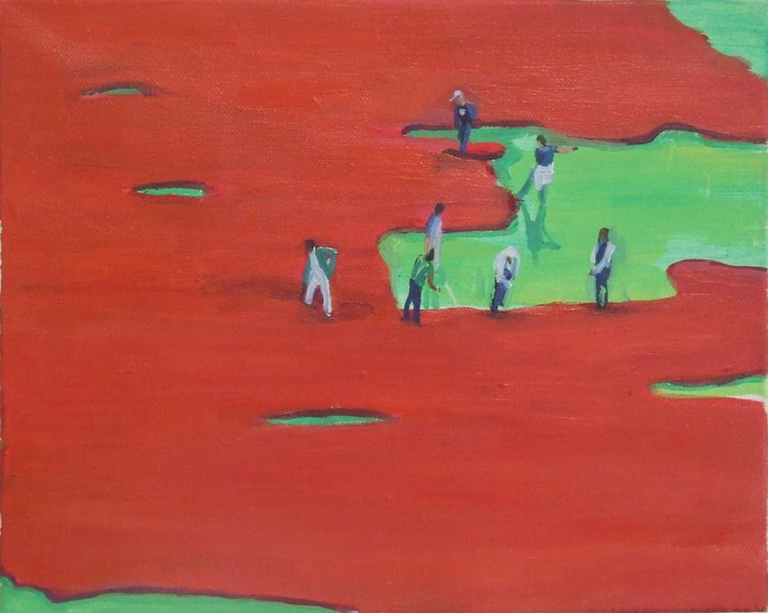 """Indrė Ercmonaitė. """"Dažų potvynis"""", 2013, drobė, aliejus, 20x30 cm"""