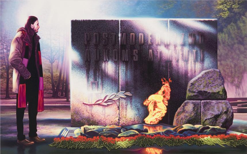 "Gintaras Znamierowski. ""K. Šapoka prie monumento postmodernistams"", 2009, drobė, aliejus, 67x110. Iš albumo ""Lietuvos tapyba: 1960–2013"""