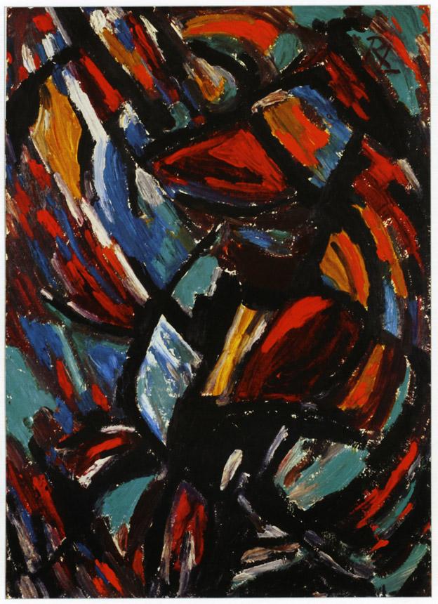 """Romualdas Lankauskas. """"Ritmo sūkury"""", 1963, kartonas, aliejus, 49x69."""