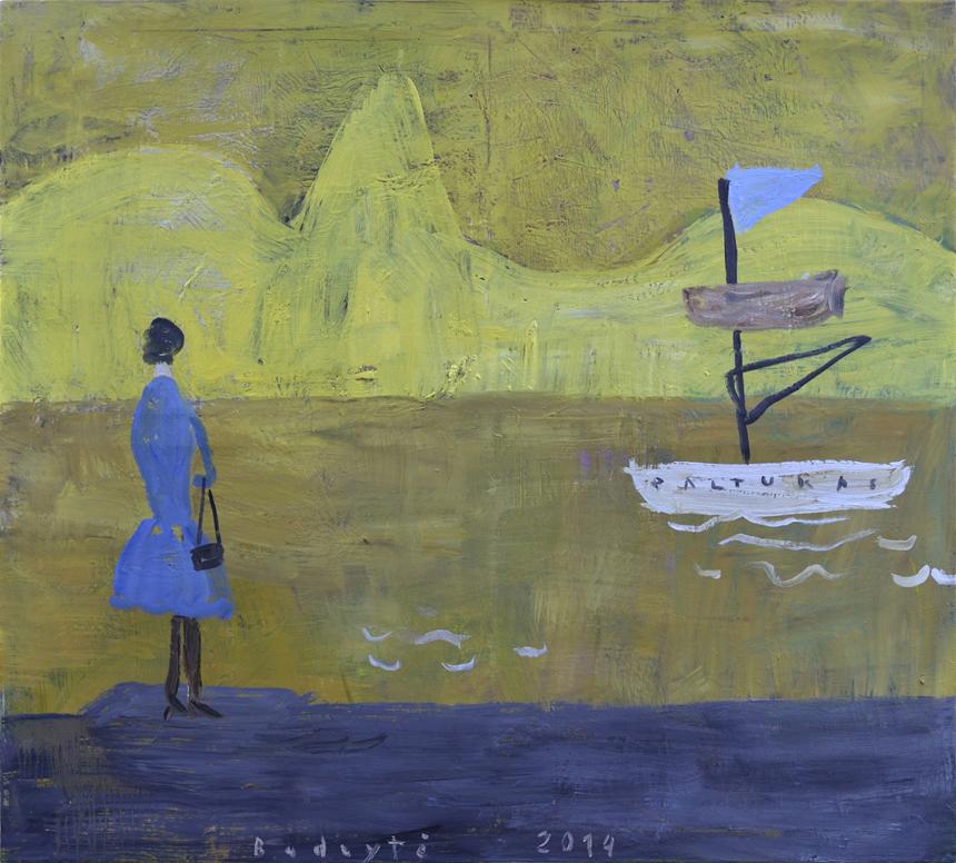 """Ina Budrytė. """"Upė"""", drobė, aliejus, 2014, 100x110"""