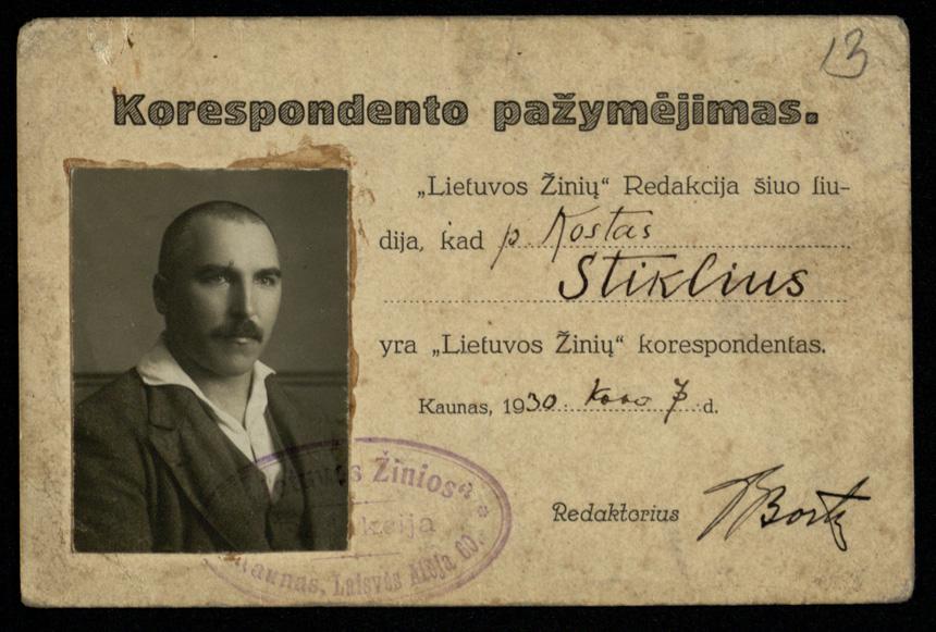 """Kostui Stikliui išduotas """"Lietuvos žinių"""" korespondento pažymėjimas. 1930 m. kovo 7 dieną. LMAVB."""