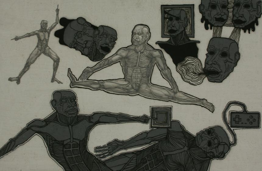 """Galintas Laurišas. Iš ciklo """"Iliuzijos"""", 2014, mišri technika. Bakalauro darbo vadovas – doc. Gintaras Palemonas Janonis"""