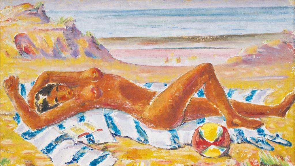 """Adomas Galdikas. """"Moteris pliaže"""", drobė, tempera, 33x56, iki 1944"""