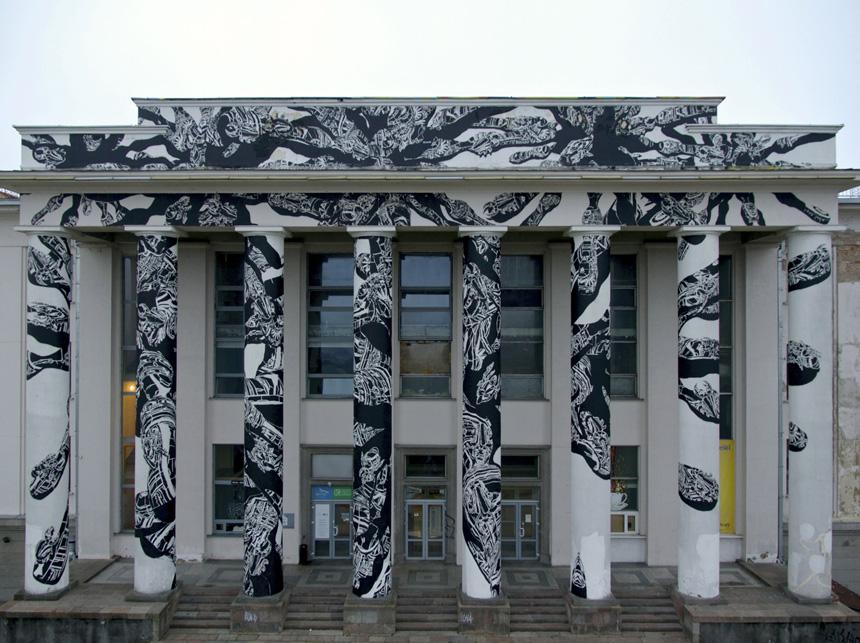 Mariuszo Waraso (M-City) piešinys ant Profsąjungų rūmų.  Vytauto Narkevičiaus nuotrauka