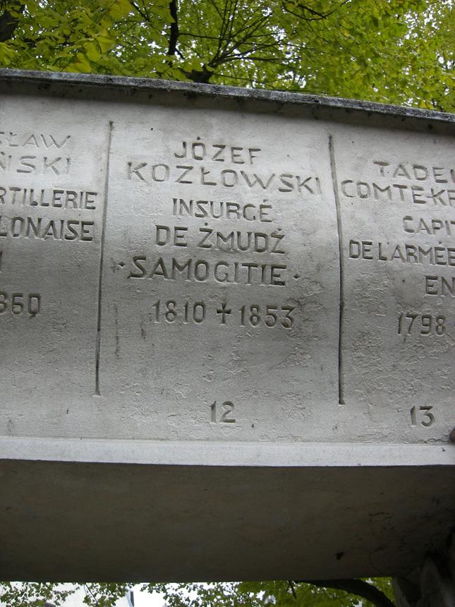 1830–1831 metų sukilimo dalyvio emigranto Juozapo Kazlausko iš Žemaitijos antkapinis įrašas bendroje kapavietėje