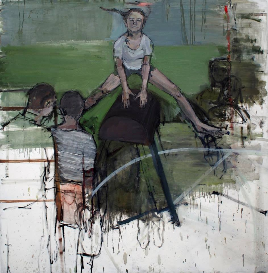 """Eglė Butkutė. """"Šuolis per ožį"""", drobė, aliejus, 179 x 179 cm, 2014."""