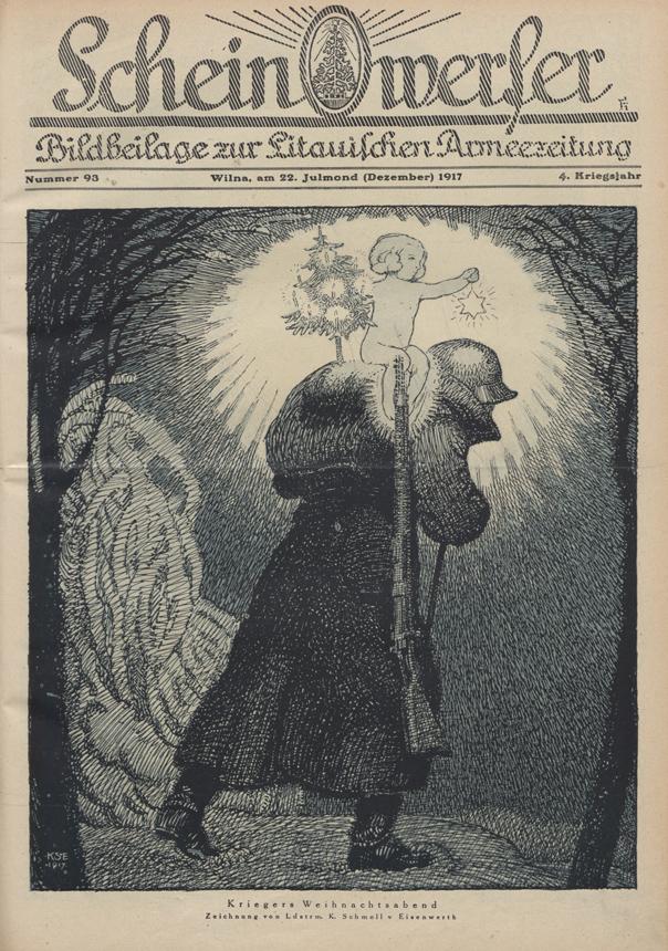 """Karių kalėdinis vakaras. K. Schmollio piešinys. """"Scheinwerfer"""", 1917 , Nr. 93"""