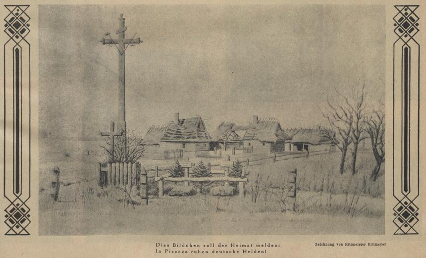 """Kaimo vaizdelis. Prie namų vokiečių karių kapai. Rotmistro Rittmeyerio piešinys. """"Bilderlage zur Zeitung der 10. Armee"""", 1917, Nr. 67"""