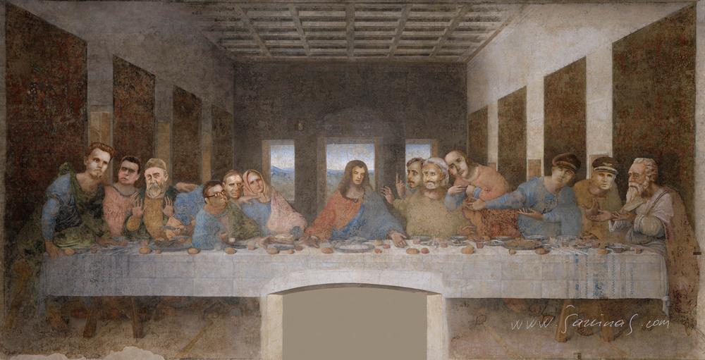 """Šarūno Jakšto karikatūra """"Paskutinė vakarienė"""" (20 x 10,23) iš parodos """"Pinigai keičiasi, humoras lieka"""""""