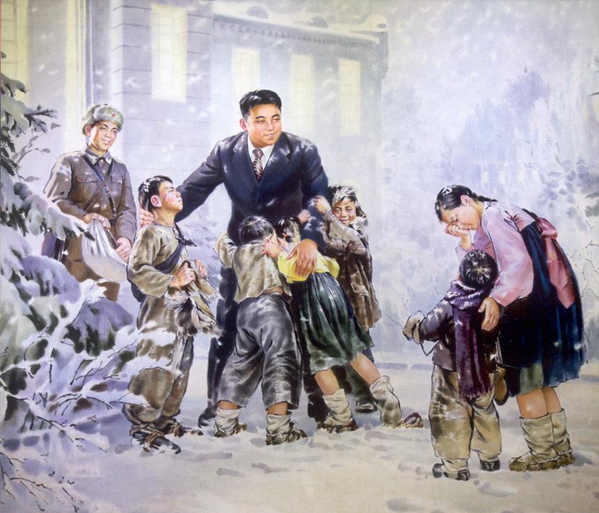 Šiaurės Korėjos šių laikų dailininko tapybos darbo fragmentas