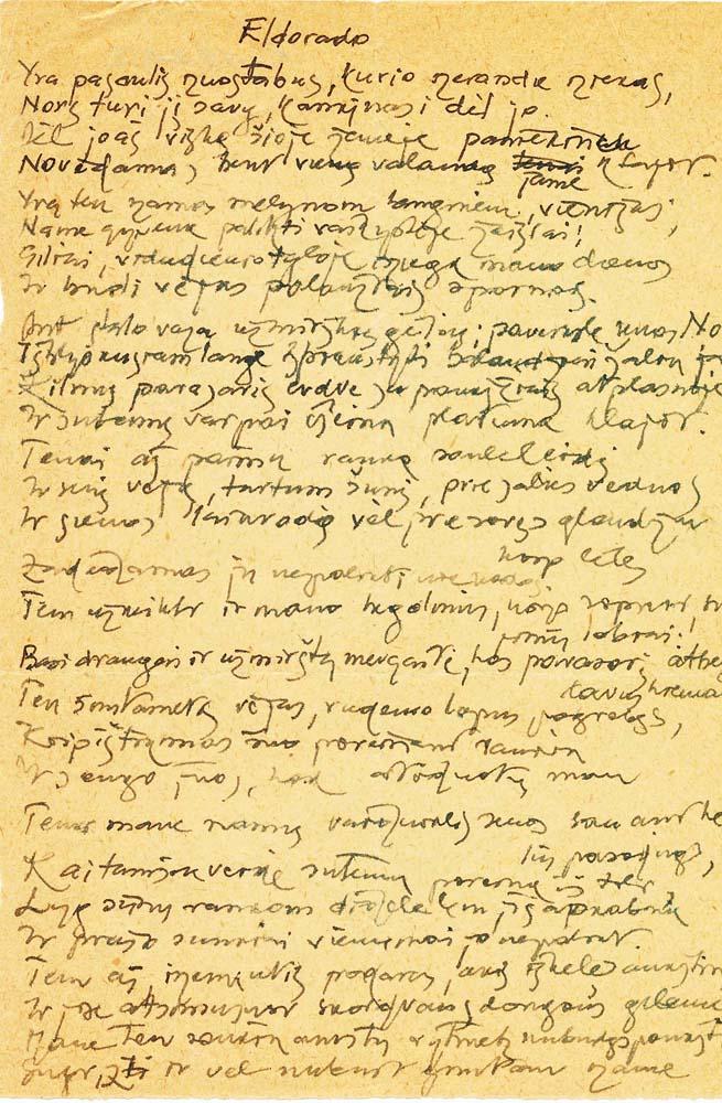 """A. Nykos-Niliūno eilėraščio """"Eldorado"""" rankraštis"""