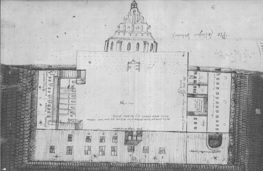 1582 m. Vilniaus universiteto planas. Iš Paryžiaus nacionalinės bibliotekos archyvo
