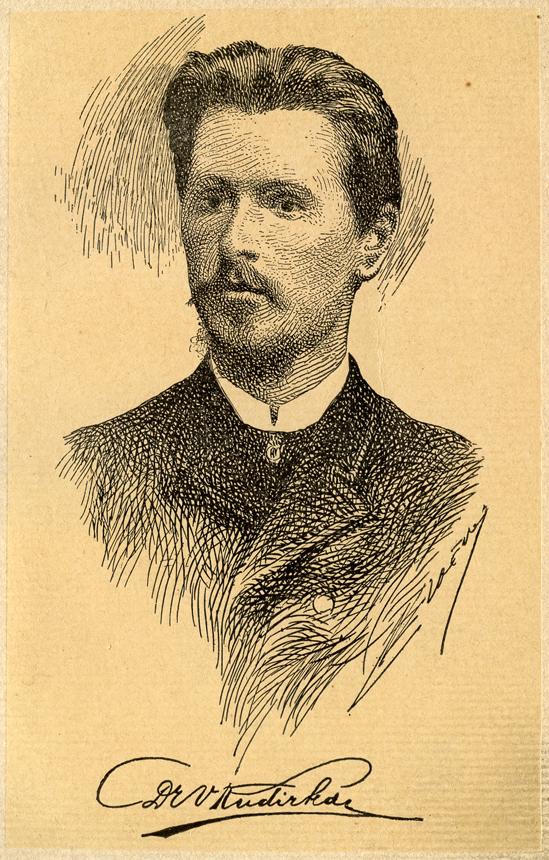 """Vincas Kudirka. E. Loevy piešinys iš Juozo Garbio parengtų V. Kudirkos """"Raštų"""" t. 1. 1909 m."""