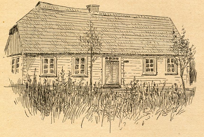 Namas Naumiestyje (dabar Kudirkos Naumiestis), kuriame gyveno ir mirė Vincas Kudirka. Dail. E. Loevy. 1909 m.