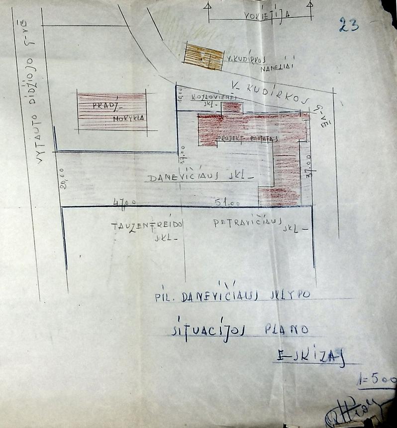 """Naumiesčio miesto """"Tautos"""" namų (šalia pradžios mokyklos ir V. Kudirkos namelio) eskizas. 1937 m. LCVA. F. 1622, ap. 3, b. 212, l. 30"""