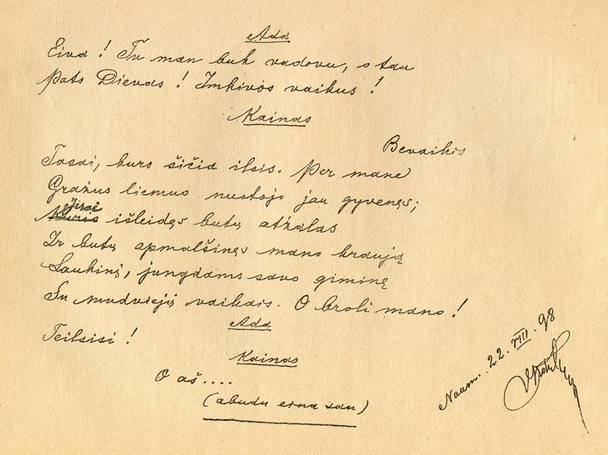 """Vienas iš paskutiniųjų Vinco Kudirkos darbų paprūsės namelyje: George'o Byrono poemos """"Kainas"""" vertimo fragmentas. Iliustracija iš J. Gabrio Paryžiuje parengtų V. Kudirkos """"Raštų"""", t. 1, p. 64. 1909 m."""