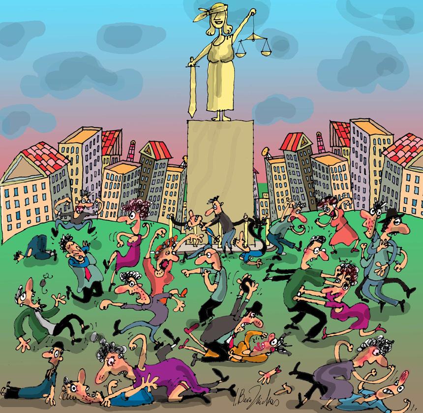 """Paskatinamasis prizas XXXIX Lietuvos humoristinių, satyrinių piešinių ir karikatūrų parodoje-konkurse """"Stot! Humoras eina!"""" (tema apie teisingumą), Vilnius, 2015"""