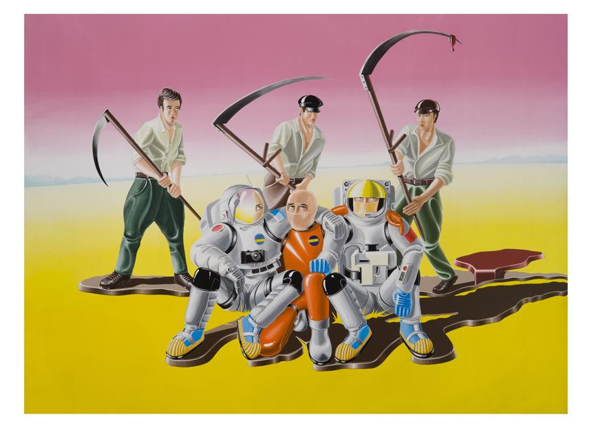 """Jonas Jurcikas. """"Laiminga pabaiga"""", drobė, akrilas, 290x390, 2010, MMC kolekcija."""