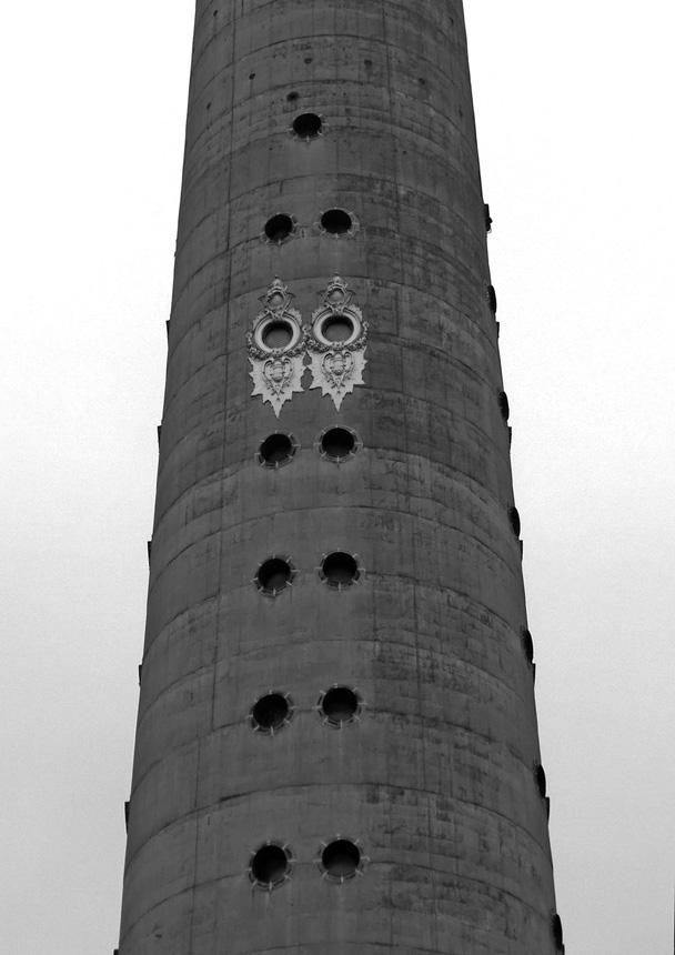 """Liudas Parulskis. """"Televizijos bokštas / Šv. Kazimiero bažnyčia"""", 30 x 42, 2014."""