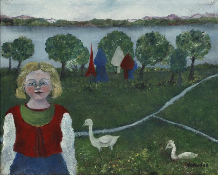 """Aldona Gustas. """"Žąsų mergaitė"""", drobė, aliejus, 24,4 x 30,1, 1982"""