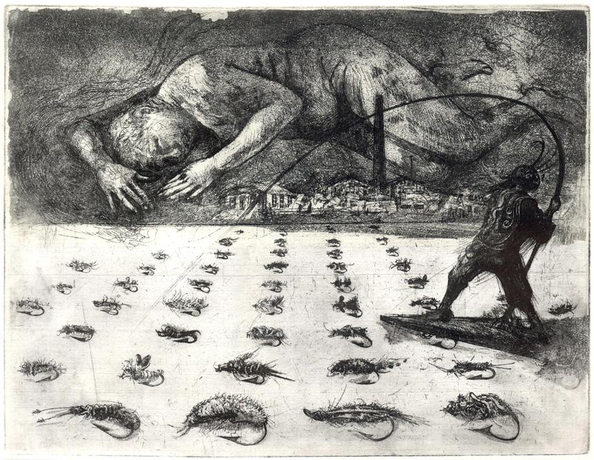 """Reda Uogintienė. """"Vyriški žaidimai. Laisvadienis"""", ofortas, 25 x 32,5, 2011. A. Uoginto nuotrauka"""