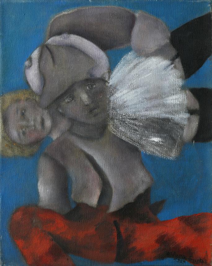 """Viršelyje – Aldona Gustas. """"Mylimieji I"""", drobė, aliejus, 30 x 24, 1986."""