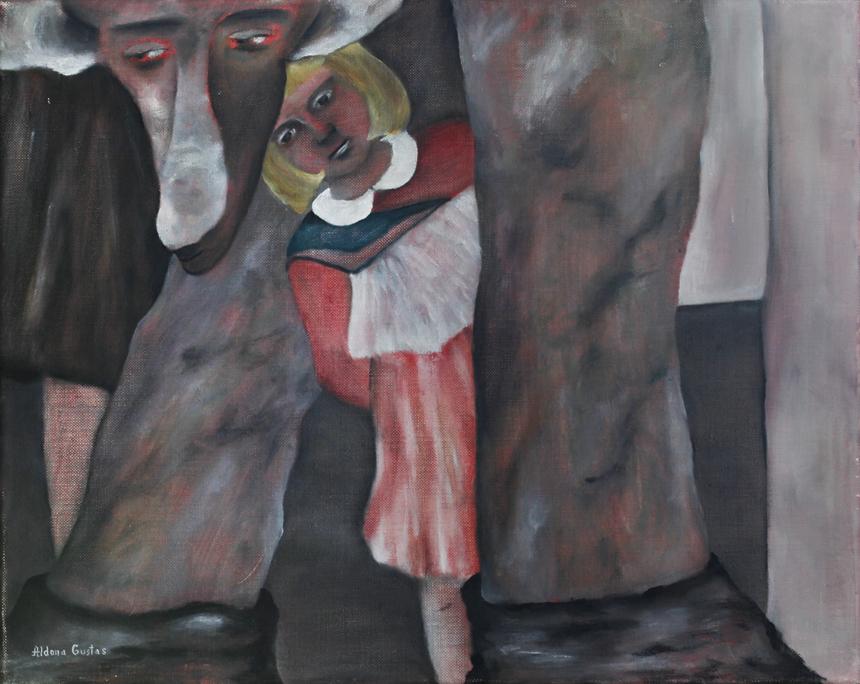 """Aldona Gustas. """"Palydint"""", drobė, aliejus, 40 x 50, 1990"""