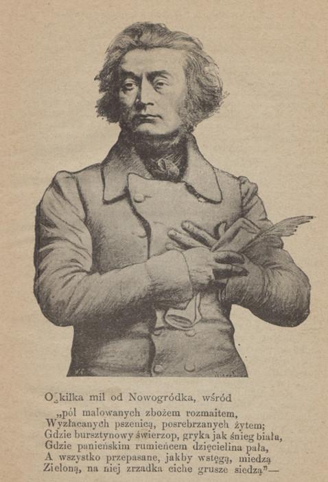 """Adomas Mickevičius. Iš 1898 m. Varšuvoje išleisto jubiliejinio leidinio """"Adam Mickiewicz. Upominek jubileuszowy"""". LMAVB."""