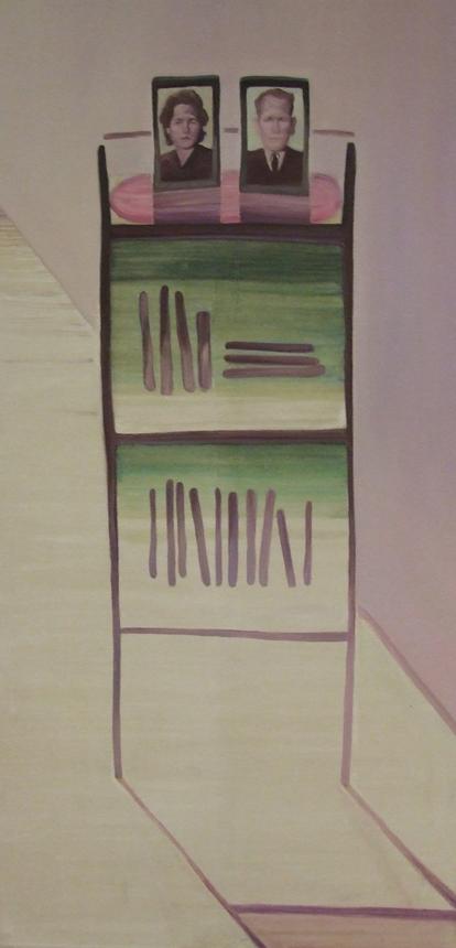 """Andrius Ivanovas. """"Knygų lentyna"""", drobė, aliejus, 200 x 100, 2015. gyčio norvilo nuotrauka"""