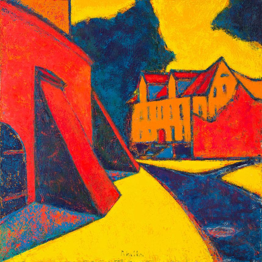 """Arvydas Pakalka. """"Geltona šviesa"""", drobė, aliejus, 100 x 100, 2006"""