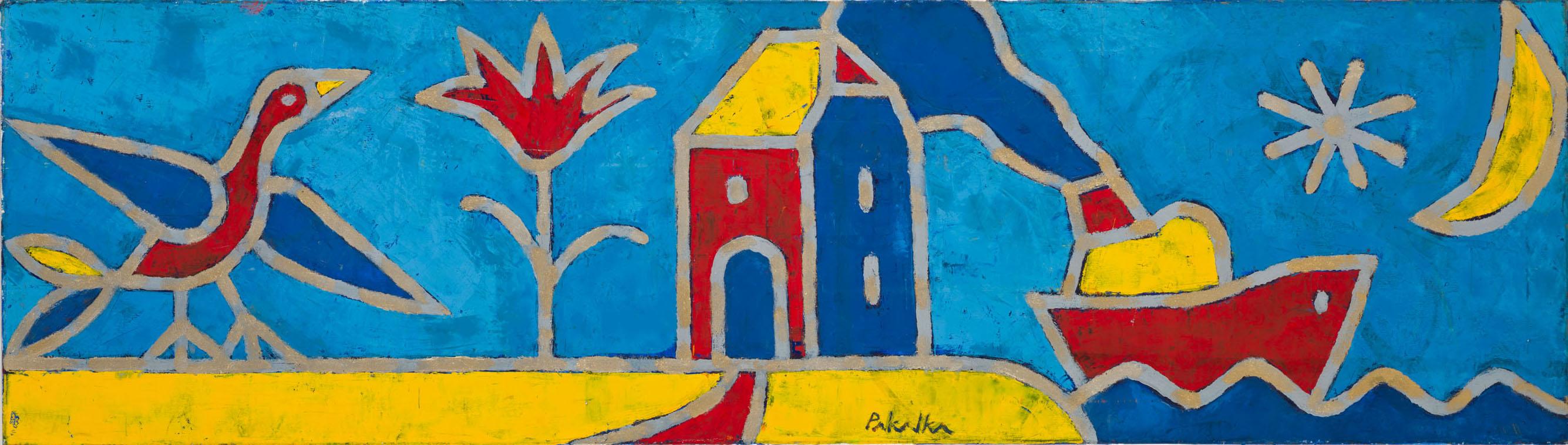 """Arvydas Pakalka. """"Pasaulis"""", drobė, aliejus, 40 x140, 2006"""