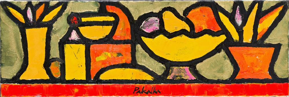 """Arvydas Pakalka. """"Daiktai auksinėje šviesoje"""", drobė, aliejus, 20 x 60, 2009"""