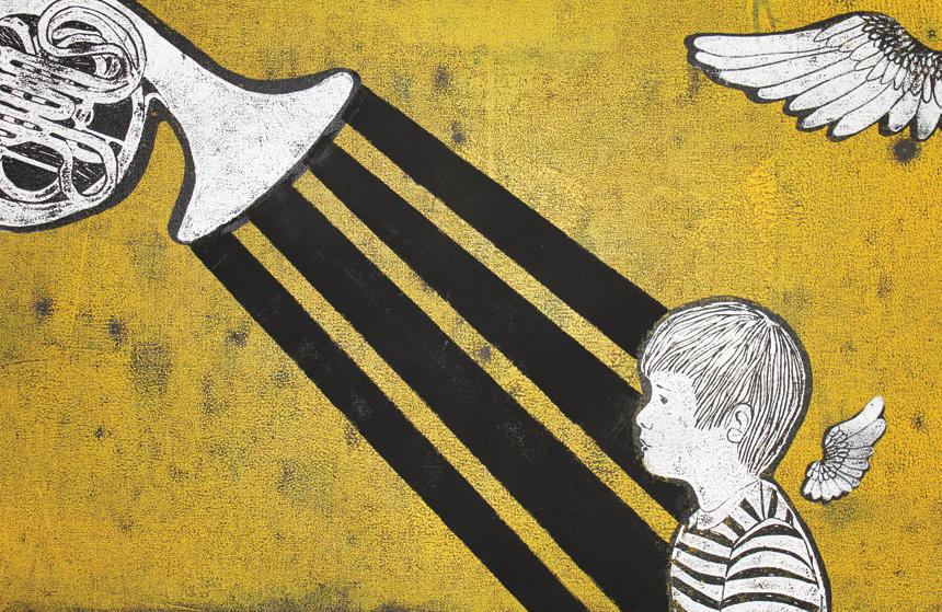 """Kristina Norvilaitė. """"Berniukas laukia įkvėpimo"""", linoraižinys, 90 x 60, 2015"""