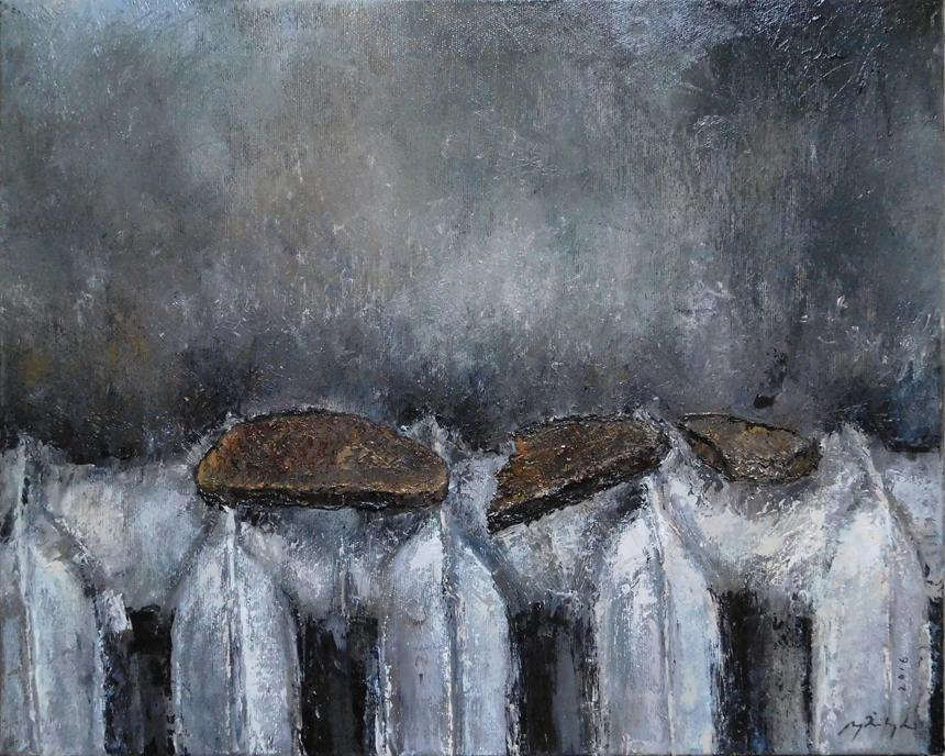 """Ugnė Žilytė. """"Juoda duona"""", drobė, aliejus, 50 x 40, 2016."""