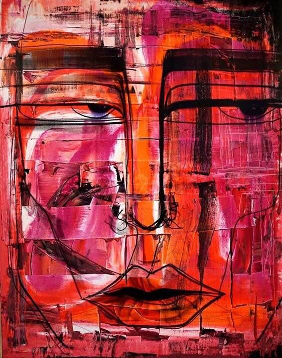 """Gia Ram. """"Ji. No. 11"""", akrilas, autorinė technika, drobė, 90 x 70, 2015"""