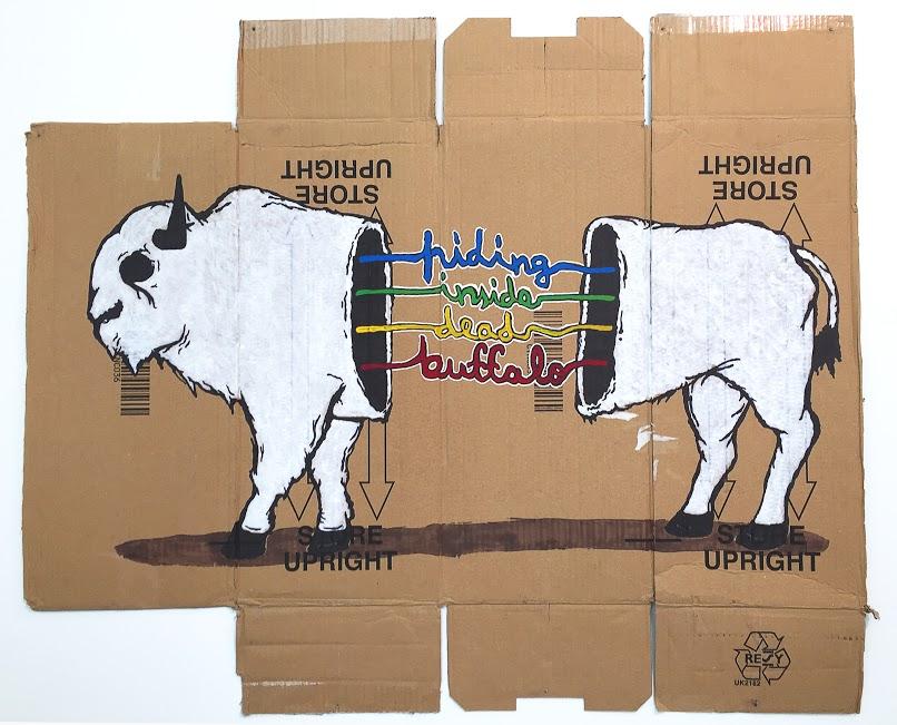"""Aistis Kavaliauskas. """"Hiding inside dead buffalo"""", kartonas, akrilas,  92 x 78"""