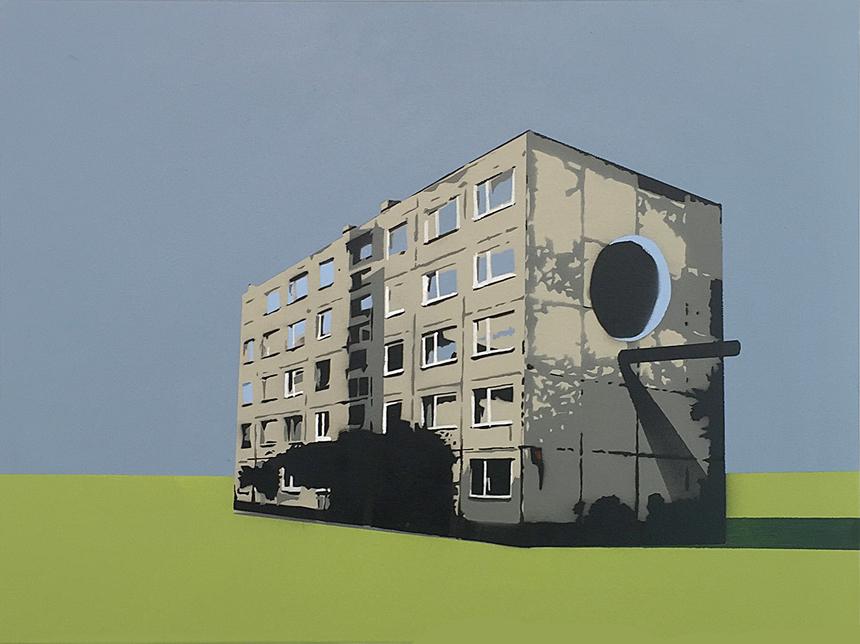 """Jurgis Tarabilda. """"Lizdas"""", drobė, aerozoliniai dažai, 80 x 60, 2016"""