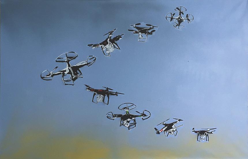 """Jurgis Tarabilda. """"Paukščiai išskrenda"""", drobė, aerozoliniai dažai, 150 x 100, 2016"""