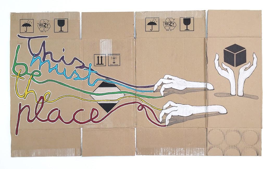 """Aistis Kavaliauskas. """"This must be the place"""", kartonas, akrilas, 97 x 58"""