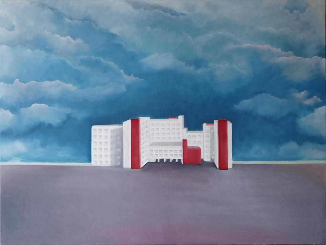 """Sigita Puodžiūtė. """"Santariškių dangus"""", drobė, aliejus, 120 x 200, 2013."""